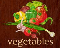 """Wooden plaque """"vegetables"""". Wooden plaque with drawing of different vegetables vector illustration"""