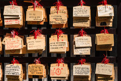 Wooden plaques with prayers Royalty Free Stock Images