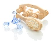 Wooden and plastic massagers Stock Images