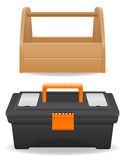 Wooden and plastic tool box vector illustration Stock Image