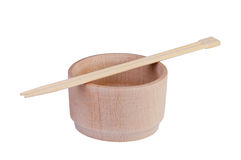 Wooden plate with chopsticks . Stock Images