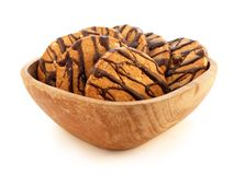 Wooden plate with cookies. Chocolate cookies on the wooden plate Stock Images