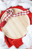 Wooden Plate on Holiday Concept Stock Photos
