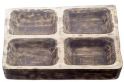 Wooden plate for meat in the form of an old window, wooden tray for meat Royalty Free Stock Photo