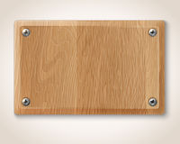 Wooden plate with screws Stock Image