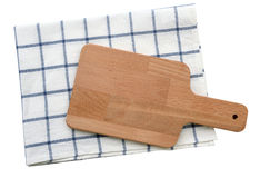 Wooden plate with tablecloth isolate (clipping path) Royalty Free Stock Photography