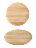 Wooden plate two different view angle isolated on white Royalty Free Stock Photo