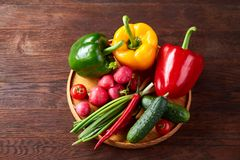 Wooden plate with vegetables for a vegetarian salad on rustic wooden background, close-up, selective focus. Cucumber, raddish, bell pepper and hot pepper ready stock images