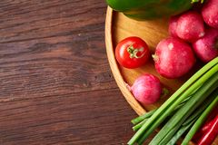 Wooden plate with vegetables for a vegetarian salad on rustic wooden background, close-up, selective focus. Cucumber, raddish, bell pepper and hot pepper ready stock photos