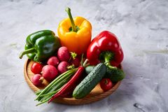 Wooden plate with vegetables for a vegetarian salad on white textured background, close-up, selective focus. Cucumber, raddish, bell pepper and hot pepper with royalty free stock photos