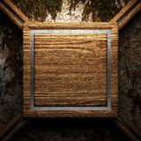 Wooden plate on wall Stock Images