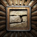 Wooden plate on wall Royalty Free Stock Image