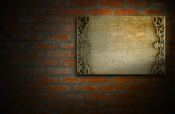 Wooden plate on wall for background. Stock Photo