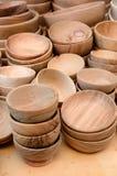Wooden plates Stock Photos