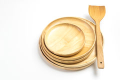 Wooden plates or trays with flipper or spade isolated white background Royalty Free Stock Photo