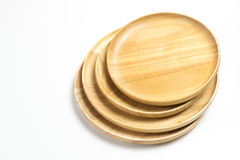 Wooden plates or trays isolated white background. Wooden plates or trays isolated on white background Stock Image