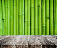 Wooden platform and bamboo texture background. Wooden platform and Asian bamboo texture background Stock Photography