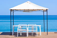 Wooden platform on the beach Royalty Free Stock Image