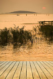 Wooden platform beside the lake Royalty Free Stock Photo