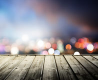 Wooden platform and lights of night Stock Images