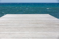 Wooden platform and sea view Stock Photo