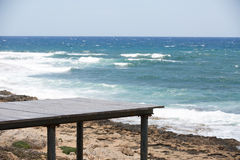 Wooden platform and sea view Stock Image