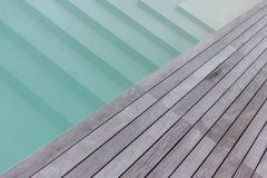 Wooden platform and stairs to pool texture. For background royalty free stock images