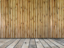Wooden platform and wooden wall Royalty Free Stock Image