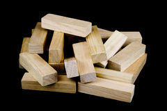 Wooden Play Blocks on Black Background Royalty Free Stock Photos