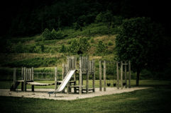 Wooden play park equipment Royalty Free Stock Photography