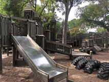 Wooden Play Park with Slide Stock Images