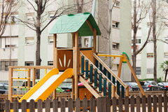 Wooden playground area Stock Photo