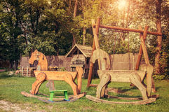 Wooden playground park Stock Photo