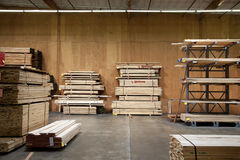 Wooden plywood stored in warehouse Stock Image