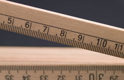 Wooden pocket ruler detail Royalty Free Stock Photography