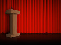 Wooden podium on the floor with red curtains. Vector Stock Images