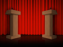 Wooden podium on the floor with red curtains. Vector Royalty Free Stock Image