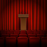 Wooden podium on the floor with red curtains. Vector Royalty Free Stock Photography