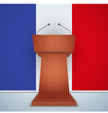 Wooden Podium Tribune with French Flag. Wooden Podium Speaker Tribune with French flag on background. Symbol of Election 2017 in France.  Illustration Royalty Free Stock Photos
