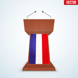 Wooden Podium Tribune with French Flag. Wooden Podium Speaker Tribune with French flag. Symbol of Election 2017 in France. Vector Illustration Isolated on Stock Photos