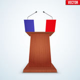 Wooden Podium Tribune with French Flag. Wooden Podium Speaker Tribune with French flag. Symbol of Election 2017 in France. Vector Illustration Isolated on Royalty Free Stock Image