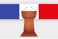 Wooden Podium Tribune with French Flag. Wooden Podium Speaker Tribune with French flag. Symbol of Election 2017 in France. Vector Illustration Isolated on Stock Image