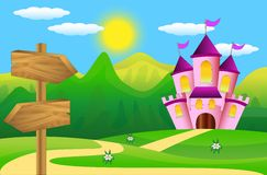 Wooden pointer and fairy-tale palace Stock Photo