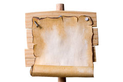 Wooden Pointer with Grunge paper Stock Photos