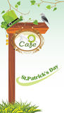 Wooden pointer of a location cafe. Lunch to the St. Patricks Day. Illustration Royalty Free Stock Photos