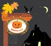 Wooden pointer of a location Halloween party Royalty Free Stock Photography