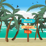 Wooden pointer among palm trees on the beach, the hotel Royalty Free Stock Images