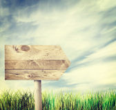 Wooden pointer standing outdoor Royalty Free Stock Photo