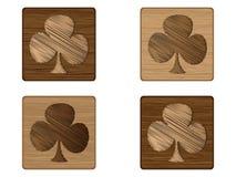 Wooden poker element - clover Stock Photo