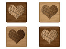 Wooden poker element - heart Stock Photography